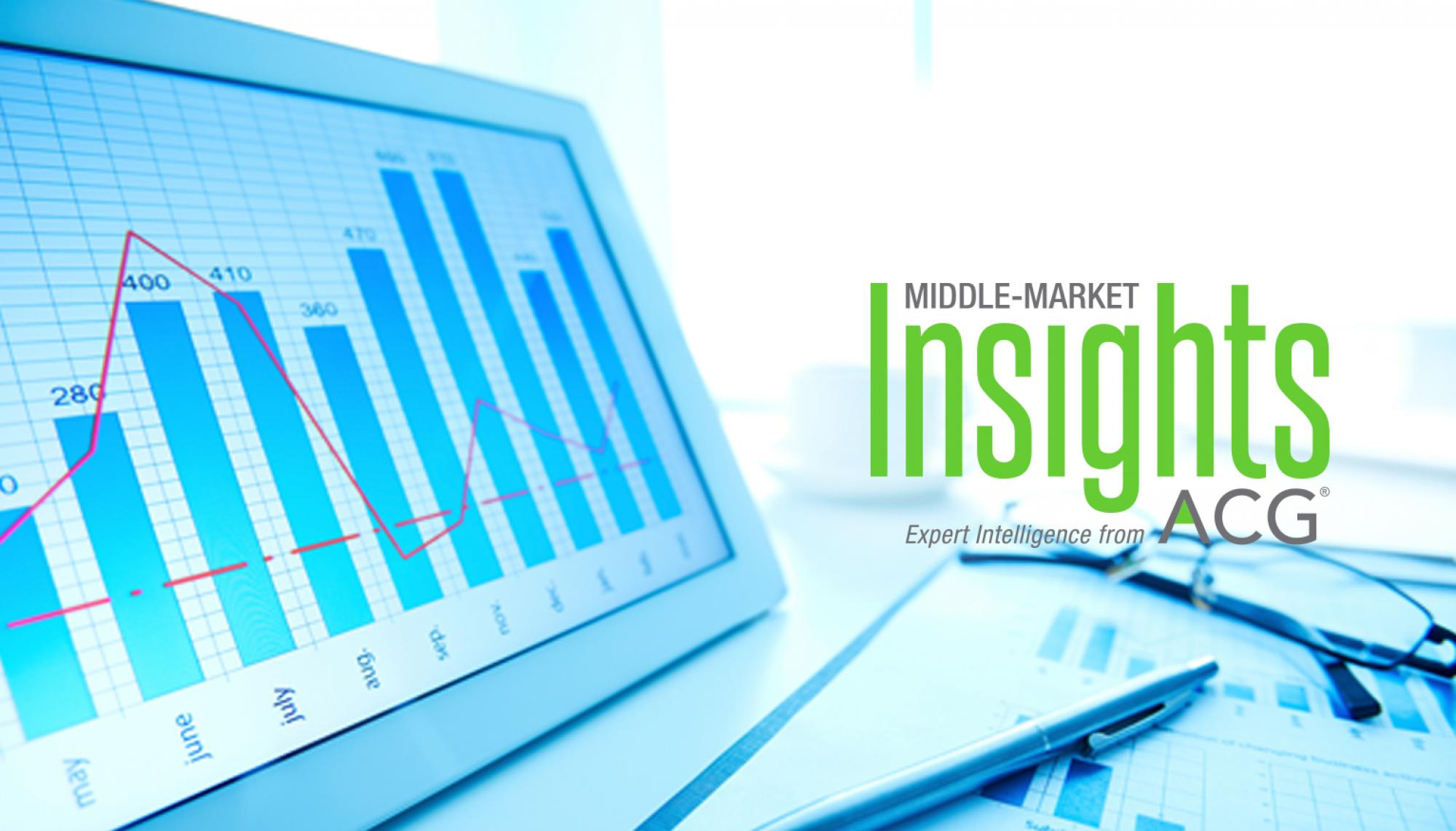 Computer with a graph. Middle Market Insight brought to you by ACG