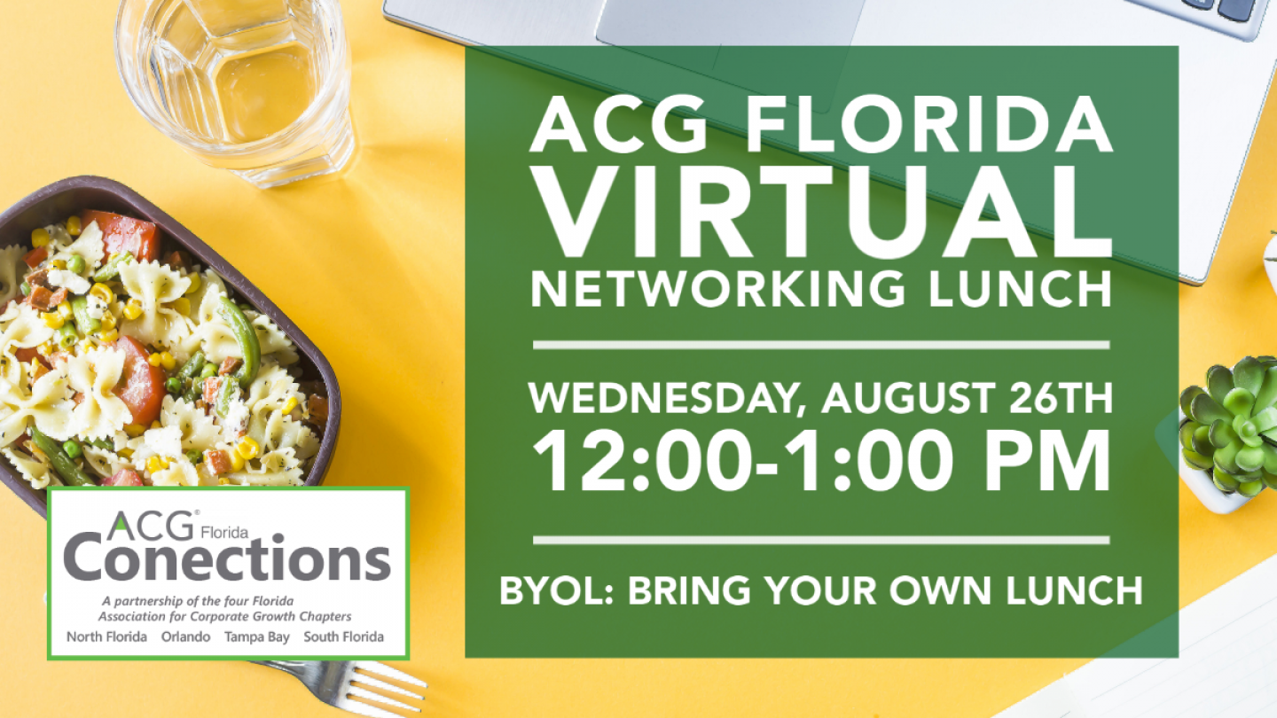Plate of pasta and cup of water. ACG Florida Virtual Networking Lunch